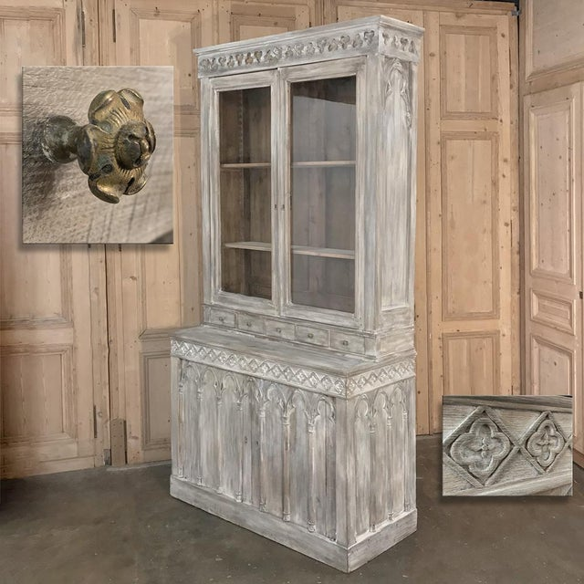 19th Century French Gothic Whitewashed Bookcase For Sale - Image 10 of 13