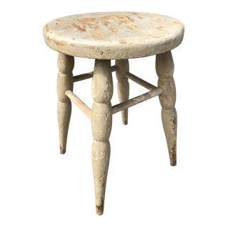 Vintage Grey Chippy Country Milking Stool
