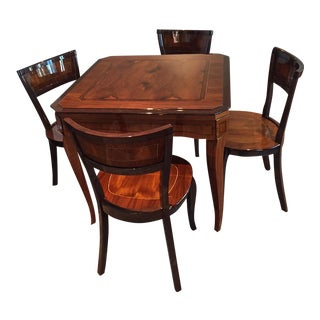 Isle of Capri Burled & Polished Walnut Game Table & Chairs