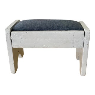 Vintage Mid 20th Century Painted Footstool With Upholstered Top