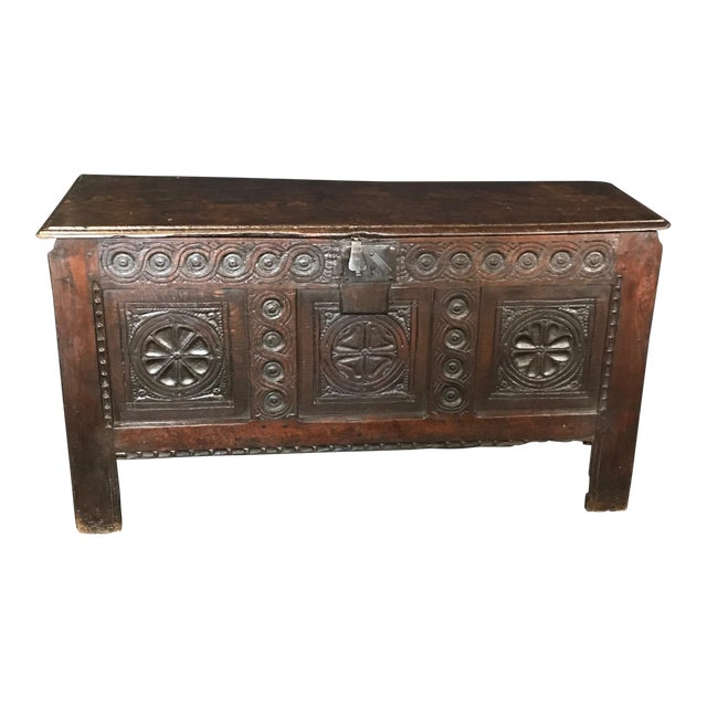 Early 18th Century Antique French Carved Coffer Chest For Sale