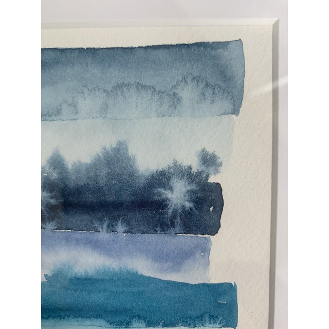 Original Abstract Watercolor in Shades of Blue For Sale In Madison - Image 6 of 10