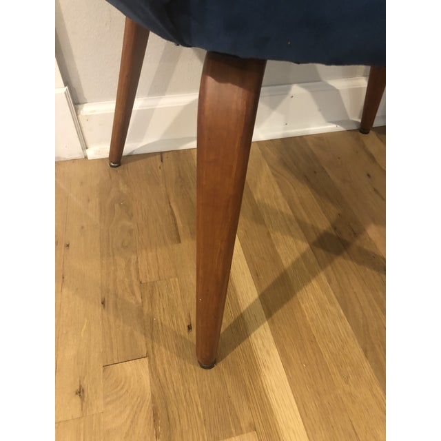 1950s Mid Century Cocktail Chair in Dark Teal Velvet For Sale In New Orleans - Image 6 of 9