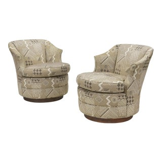 John Stuart Walnut Base Swivel Chairs - a Pair For Sale