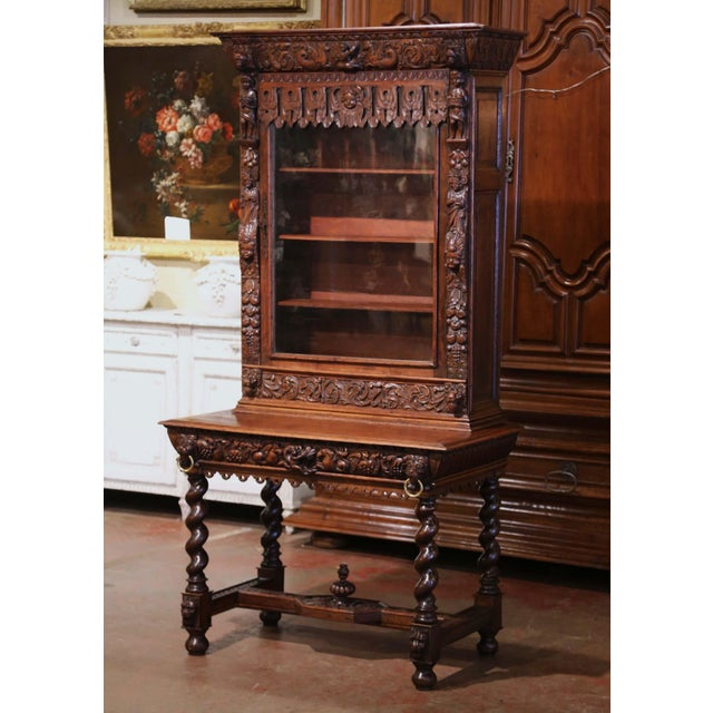 Mid-19th Century French Louis XIII Heavily Carved Oak Secretary Bookcase Desk For Sale - Image 13 of 13
