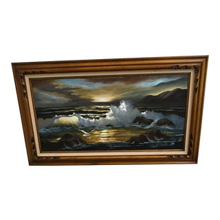 Extra Large 1970s Vintage Jane Hoffman Seascape Painting For Sale
