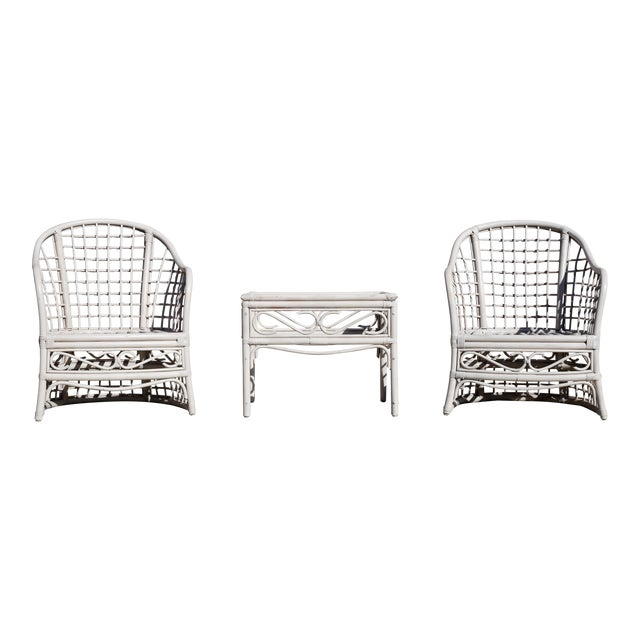 Vintage Rattan Club Chairs and Side Table - Set of 3 For Sale