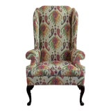 Image of Custom Upholstered Queen Anne Wingback Library Chair For Sale