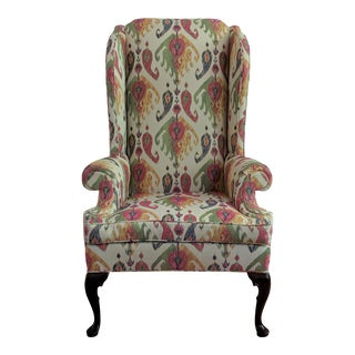 Large Queen Anne Wingback Library Chair - Ikat Upholstery For Sale