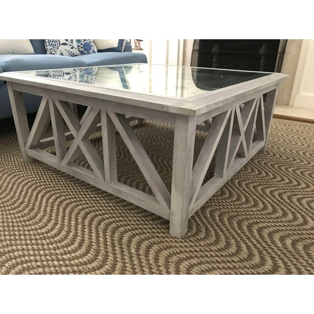 X Base Mirrored Top Wood Coffee Table - Image 2 of 8