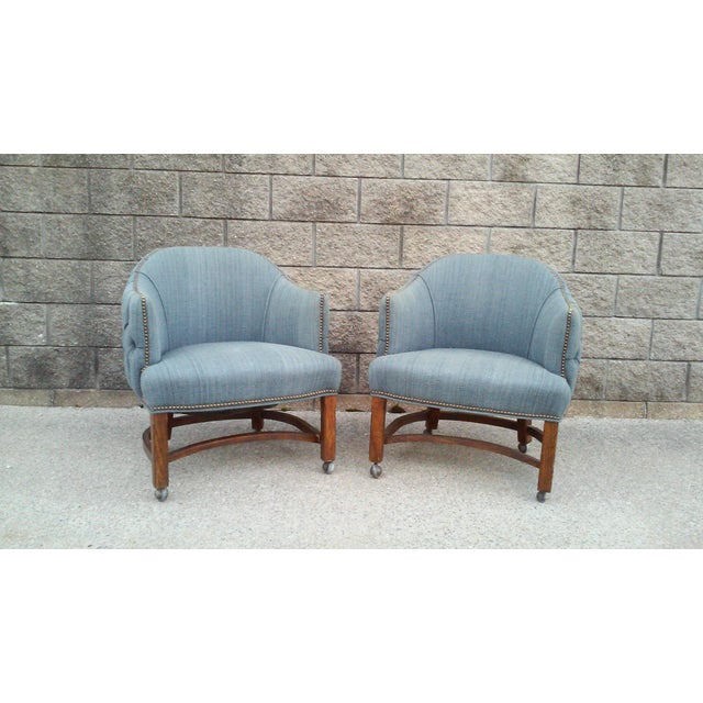 Blue Tufted Club Chairs With Nail Head Trim-A Pair For Sale - Image 9 of 10