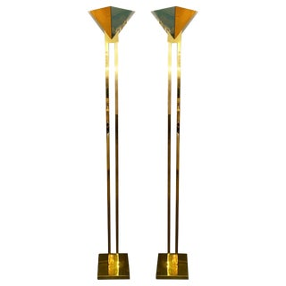 Mid Century modern Pr of Brass, Glass & Lucite Torchiere Floor Lamps by Sonneman for Kovacs