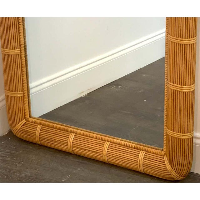 Mid 20th Century Midcentury Wrapped Pencil Reed Rattan Demilune Mirror For Sale - Image 5 of 7