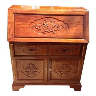 Asian Solid Koa Teak Wood Slant Carved Desk For Sale