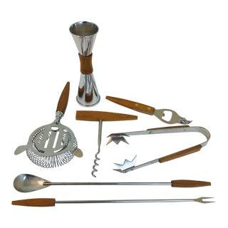 1960s Vintage Teak & Stainless Steel Complete Barware Set - 7 Pieces For Sale
