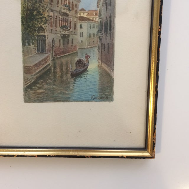 Alberto Trevisan Venice Watercolor Painting For Sale - Image 4 of 5