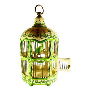 French Mid Century Ceramic Ornamental Bird Cage For Sale