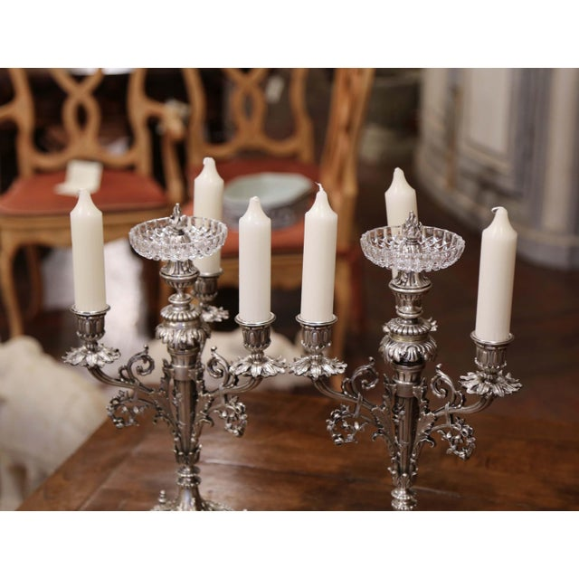 French Pair of 19th Century French Silvered Bronze Candelabras and Crystal Bobeche For Sale - Image 3 of 13