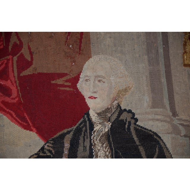 Silk George Washington Hand Embroidered Tapestry C. 1850s For Sale - Image 7 of 13