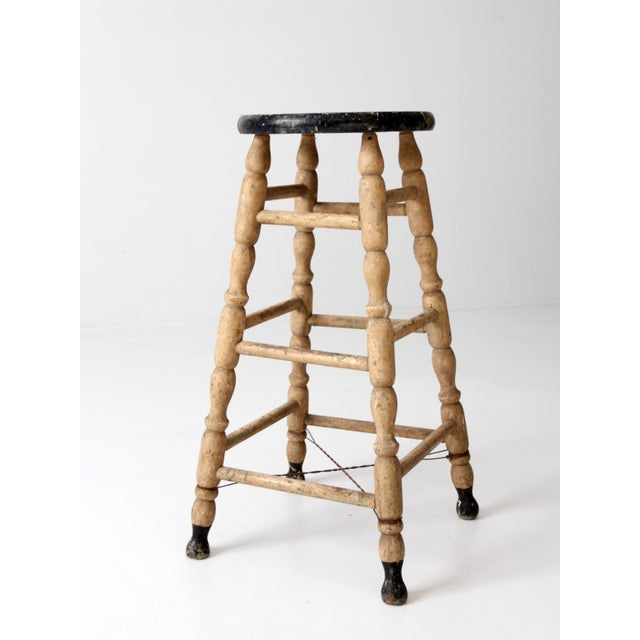 Cottage Antique Turned Leg Stool For Sale - Image 3 of 8