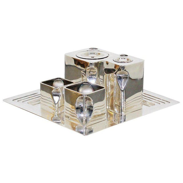 Art Deco Metal 5-Piece Cube Tea Pot Set Stamped Made in England 1917 For Sale - Image 10 of 10