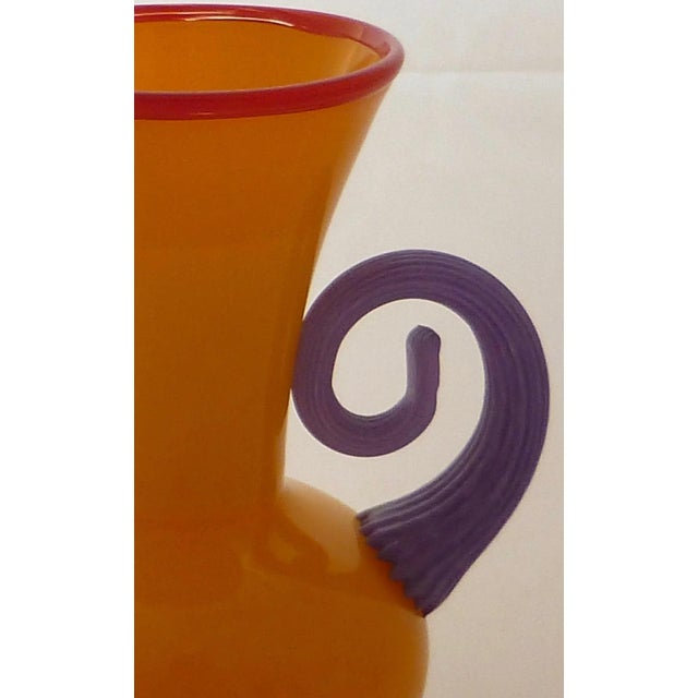 Glass Orange Studio Art Glass Vase For Sale - Image 7 of 9