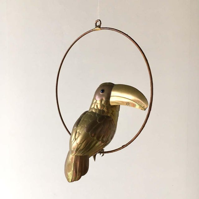 Brass and Copper Toucan by Sergio Bustamante on a Hoop Mexico 1960s