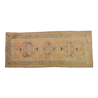 1950s Traditional Turkish Peach and Gray Spun Wool Oushak Rug - 4'8''x12' For Sale