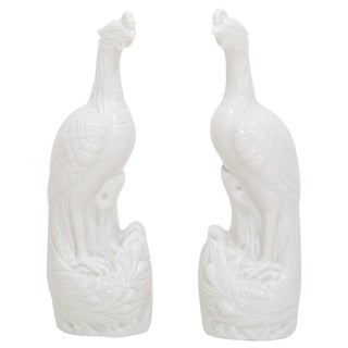 Matched Pair of Porcelain Peacock Figurines For Sale