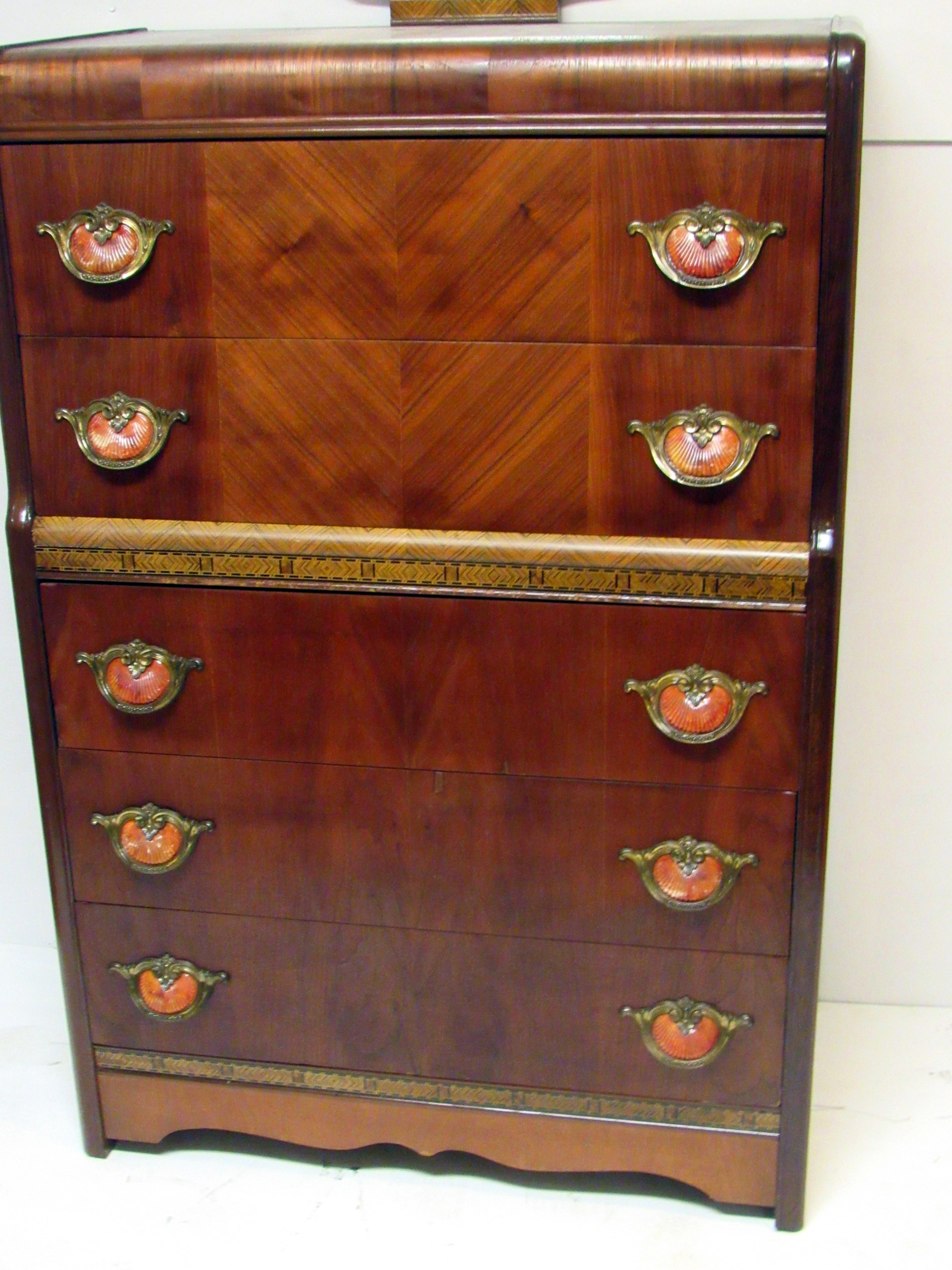 Art Deco Tall Waterfall Dresser For Sale Image