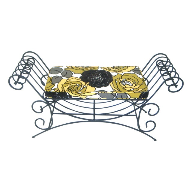 Upholstered Black Wrought Iron Two Seat Mediterranean Style Bench For Sale