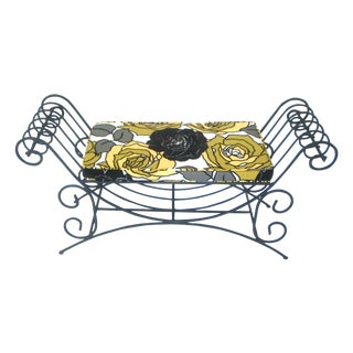 Vintage Black Wrought Iron Two Seat Mediterranean Style Scroll Bench With Yellow & Black Flower Cushion For Sale