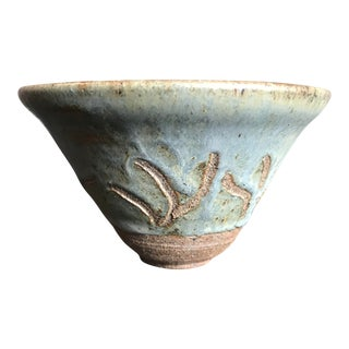 Gray and Brown Ceramic Bowl For Sale