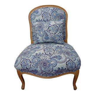 Vintage Blue Paisley French Provincial Armless Chair For Sale