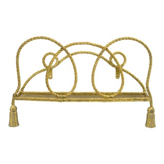 Vintage Italian Hollywood Regency Gold Rope Tassel Magazine Rack