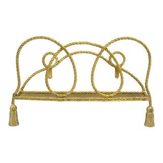 Vintage Italian Hollywood Regency Gold Rope Tassel Magazine Rack Wall Mount Iron