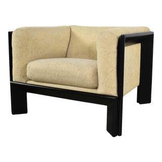 Modern Black & White Cube Club Lounge Chair Metropolitan Furniture Co. San Francisco For Sale