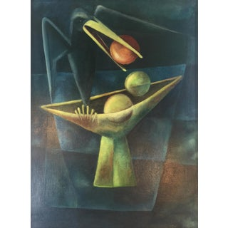 1940s Cubist Oil Painting of Black Bird With Bowl of Fruit For Sale