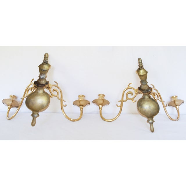 Vintage Solid Brass Candle Wall Sconces - Pair - Image 5 of 5