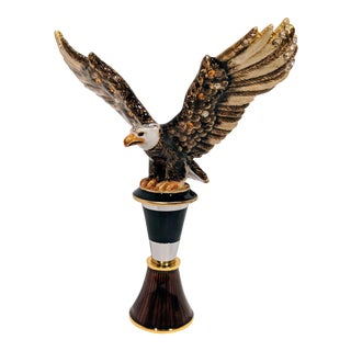 Jay Strongwater Eagle Wine Bottle Stopper & Stand