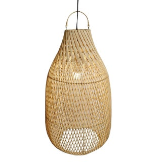 Raw Rattan Bottle Lantern Large For Sale