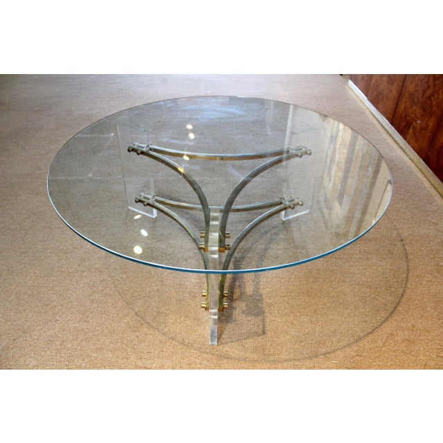 1970s Charles Hollis Jones Mid-Century Brushed Brass & Acrylic Coffee Table For Sale - Image 5 of 9