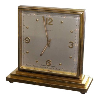 Tiffany Double Sided Bronze Square Desk Table Clock For Sale