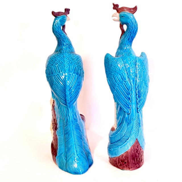 Early 20th Century Turquoise and Manganese Glazed Chinese Porcelain Ho-Ho Birds- a Pair For Sale - Image 5 of 13