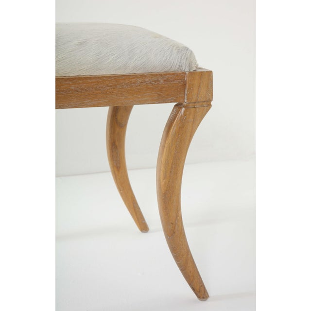 Jean-Michel Frank Cerused Oak and White Pony Hide Ottoman, in the Style of Jean-Michel Frank For Sale - Image 4 of 10
