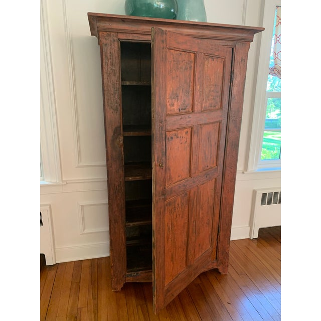 Distressed Painted Vintage Vermont Cupboard For Sale - Image 4 of 9