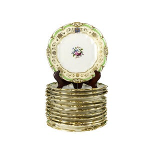 "12 Edition Honore a Paris Porcelain Gilt Armorial 9.5"" Dinner Plates, 19th Century"