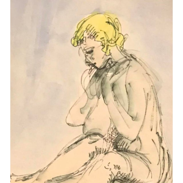 From a collection of 1970s watercolors painting of seated nude female