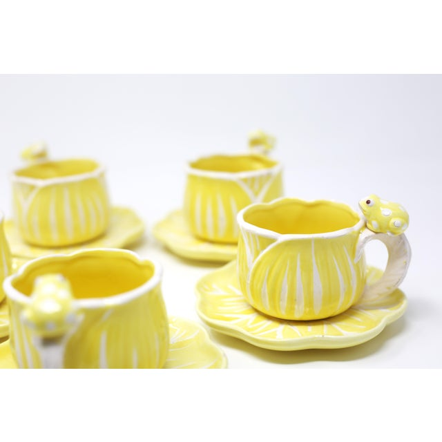Yellow Vintage Hand-Painted Yellow and White Flower and Frog Espresso Cups and Saucers - Set of 12 For Sale - Image 8 of 13