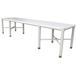 Mid-Century Modern White Lacquered Bench With Brass Details Preview